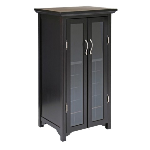 Winsome French Door Wine Cabinet - Dark Cherry