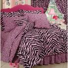 Zebra Print Bed in a Bag with Sheet Set - Pink/Black