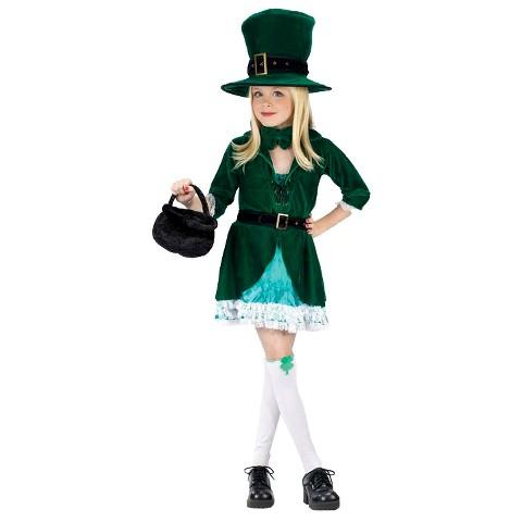 Girl's St. Patrick's Day Lucky Leprechaun Costume