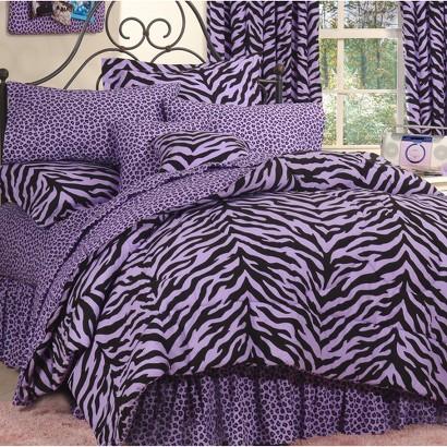 Zebra Print Bed in a Bag - Lavender/Black