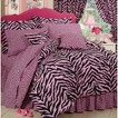 Zebra Print Bed in a Bag with Sheet Set - Pink/Black