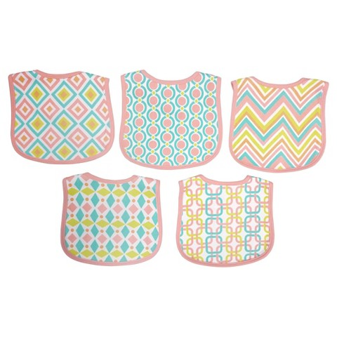 Neat Solutions Knit Terry Graphic Print Bibs - Girl (5 pack)