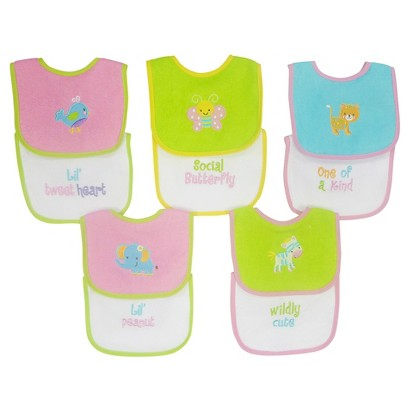Neat Solutions Knit/Terry Embroidered Girl Sayings Bibs-10PK