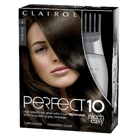 Clairol Perfect 10 by Nice 'n Easy Hair Color 004 Dark Brown 1 Kit