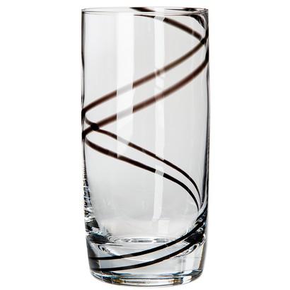 Luigi Bormioli Black Swirl Beverage Glasses Set of 4
