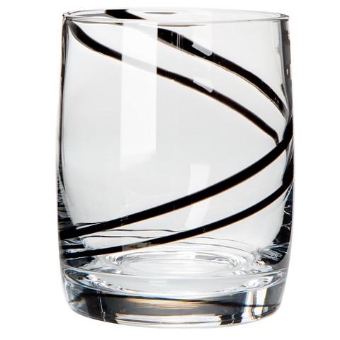 Luigi Bormioli Black Swirl Double Old-Fashioned Glasses Set of 4
