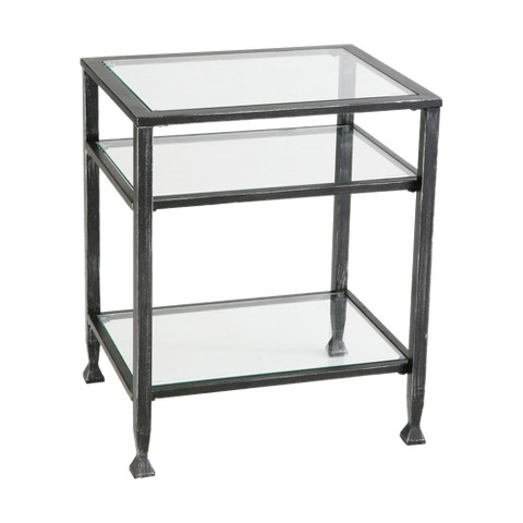 Southern Enterprises Distressed Metal End Table - Black