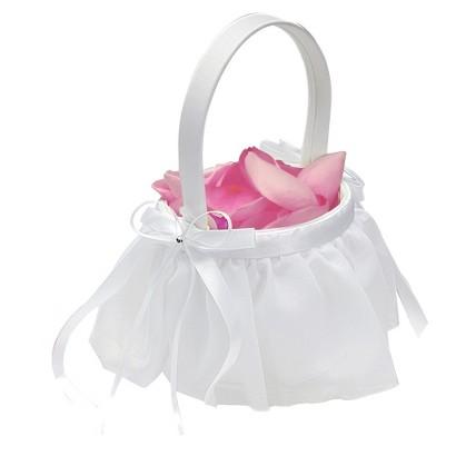 Elegant Chiffon Flower Girl Basket - White