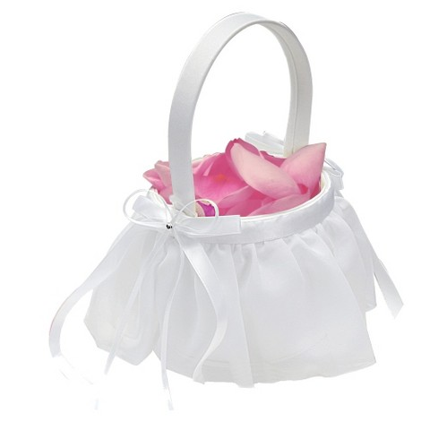 White Chiffon Wedding Flower Girl Basket