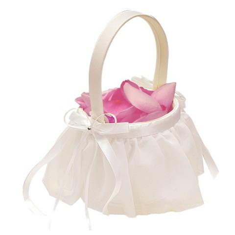 Elegant Chiffon Flower Girl Basket - Ivory