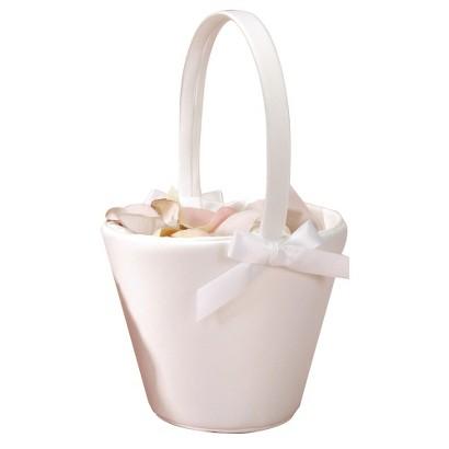 Sweet Bow Flower Girl Basket - Ivory