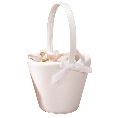 Ivory Sweet Bow Wedding Flower Girl Basket