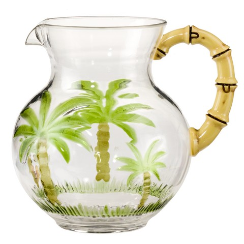 Palm Tree Acrylic Pitcher with Bamboo Handle
