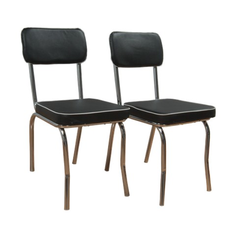 TMS Retro Dining Chair Black Set of 2