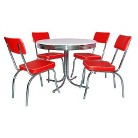5 Piece Retro Dining Set - Red