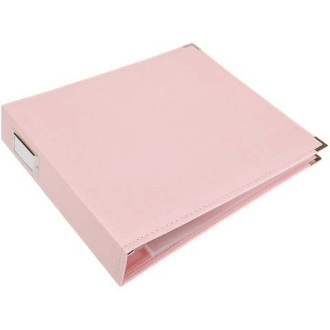 "Faux Leather 3-Ring Binder - Pink (12x12"")"