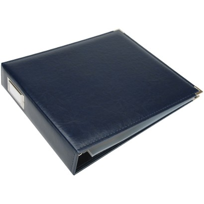 """Faux Leather 3-Ring Binder - Navy (12x12"""")"""