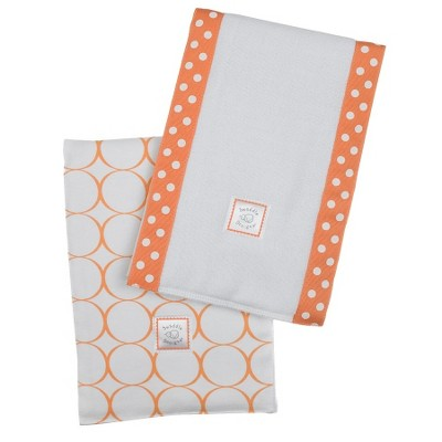 SwaddleDesigns Baby Burpies 2-pc. Set - Orange Mod Circles