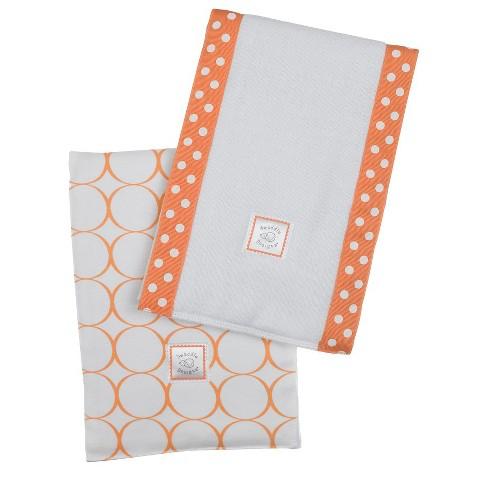 SwaddleDesigns Baby Burpies 2-pc. Set - Orange Mod Circles