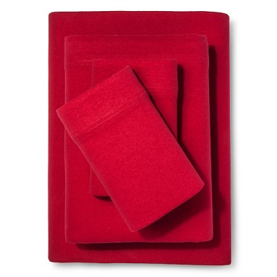 Room Essentials™ Solid Jersey Sheet Set - Red (Queen)