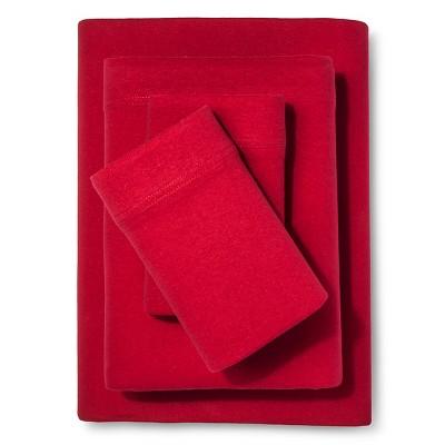 Room Essentials™ Solid Jersey Sheet Set - Red (Queen)