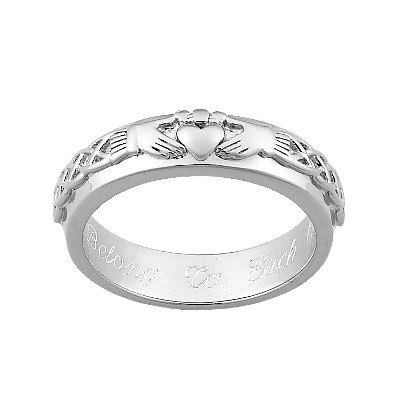 Sterling Silver Personalized Engraved Claddagh Wedding Band
