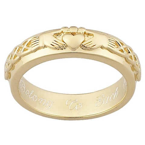 Sterling Silver Personalized Engraved Claddagh Wedding Band over Gold