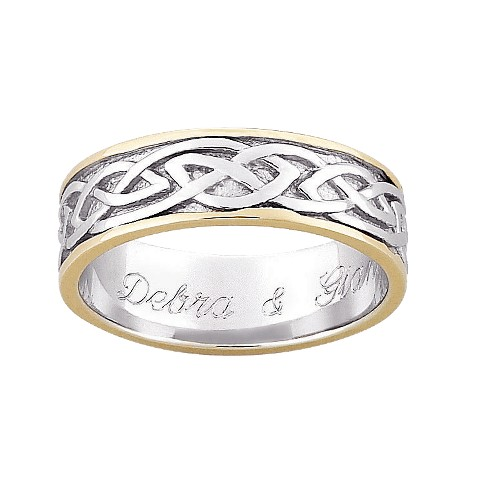 Stainless Steel Celtic Band with Gold Trim