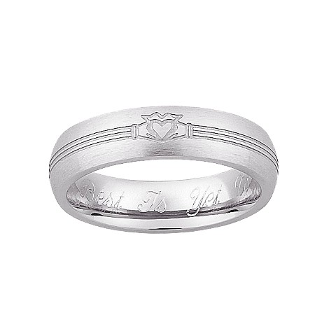 Sterling Silver Personalized Stainless Steel Ladies Engraved Claddagh Wedding Band