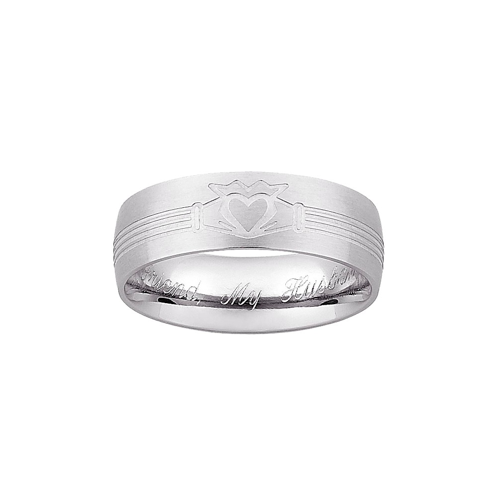 Men's Stainless Steel Engraved Claddagh Wedding Band, Size: 8.0