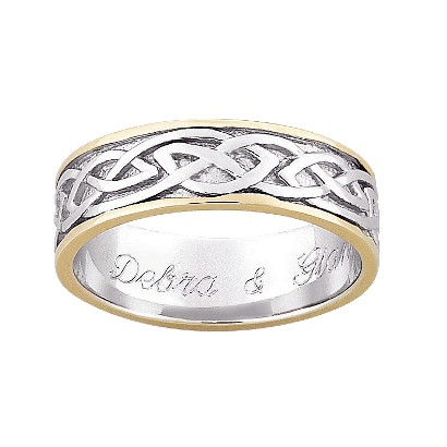 Gold Over Sterling Silver Personalized Two Tone Engraved Celtic Wedding Band