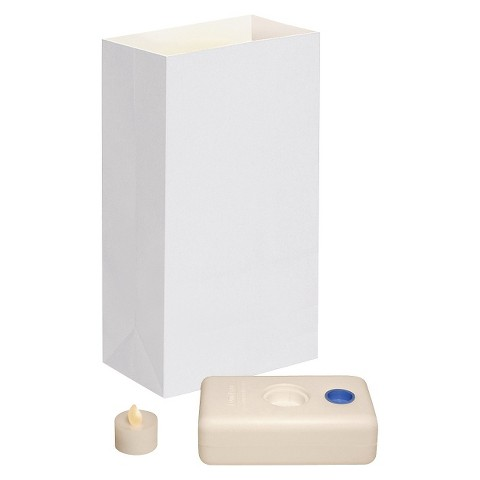 Battery Operated LED Luminaria Kit- White (12 Count)