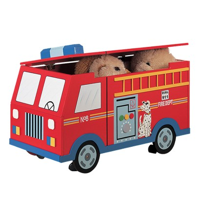 Teamson Designs Kids Storage Trunk with Wheels - Fire Engine