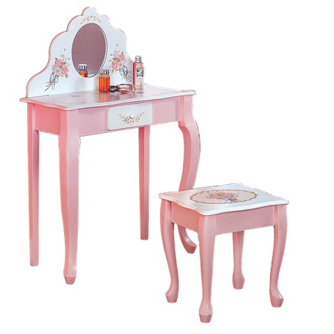Kids' Vanity Table and Stool - Pink/ White