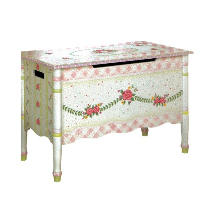 Teamson Designs Crackled Rose Girls Toy Chest - Pink
