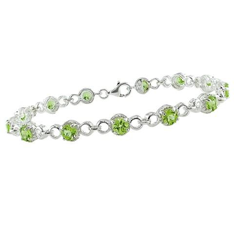 """Allura  Peridot Bracelet - Silver (8"""")"""