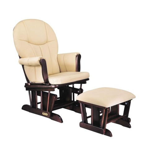 Danielle Deluxe Sleigh-Style Glider Rocker and Ottoman Set - Espresso Finish with Beige Cotton Twill