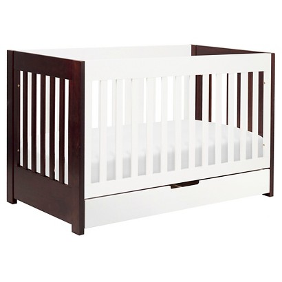 Babyletto Mercer 3-in-1 Convertible Crib with Toddler Rail - Espresso/White