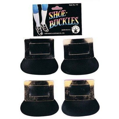 Image of Colonial Silver Shoe Buckles Costume Accessory Set