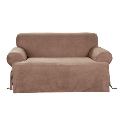 Sure Fit Soft Suede T-Loveseat Slipcover - Sable