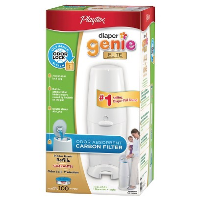 Diaper Genie Elite Diaper Pail with Carbon Filter and 100ct Refill