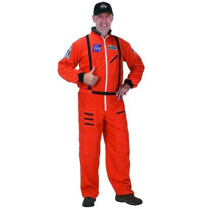 Men's Astronaut Suit Orange Costume - One Size Fits Most
