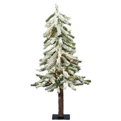 3' Pre-Lit White Flocked Alpine Tree - Clear Lights