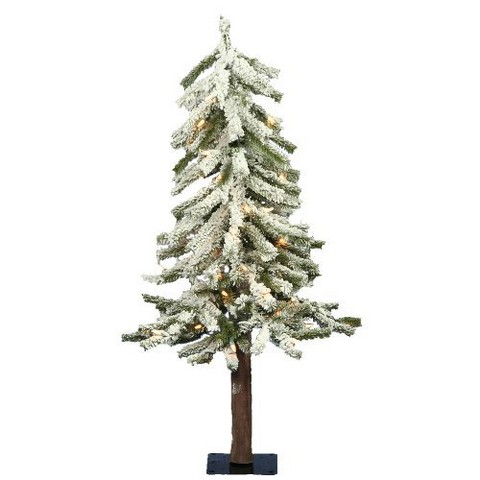 3' Pre-Lit White Flocked Alpine Artificial Christmas Tree - Clear Lights
