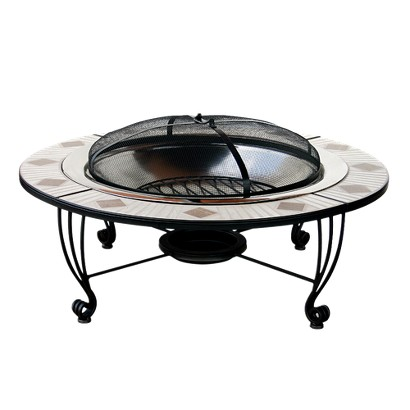Mosaic Tile Outdoor Fire Pit Stainless Steel Tar