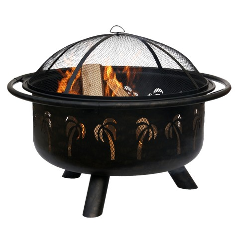 Palm Tree Design Outdoor Fire Pit - Oil-Rubbed Bronze