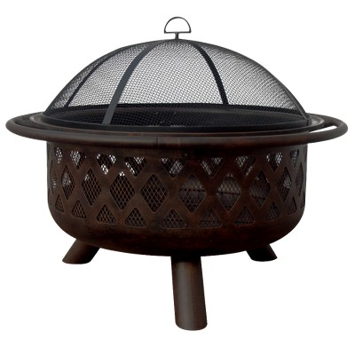 Crisscross Design Outdoor Fire Pit - Oil-Rubbed Bronze