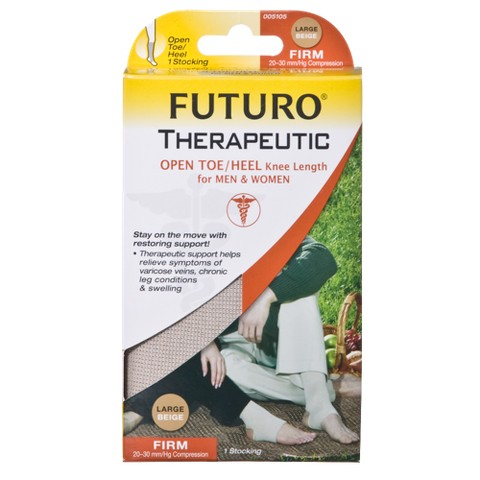 Futuro Firm Compression Knee High with Open Toe - Beige