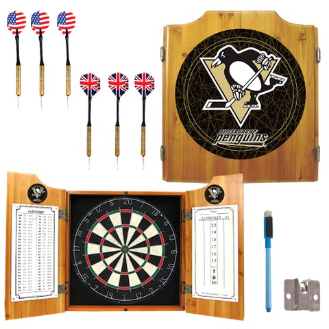 Pittsburgh Penguins Dart Cabinet with Darts and Board