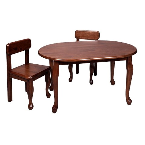 Queen Anne Oval Table and 2 Chairs - Cherry